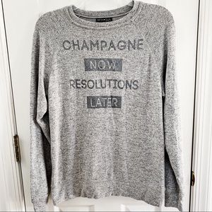 FIFTH SUN Grey Champagne Resolutions New Years Tee